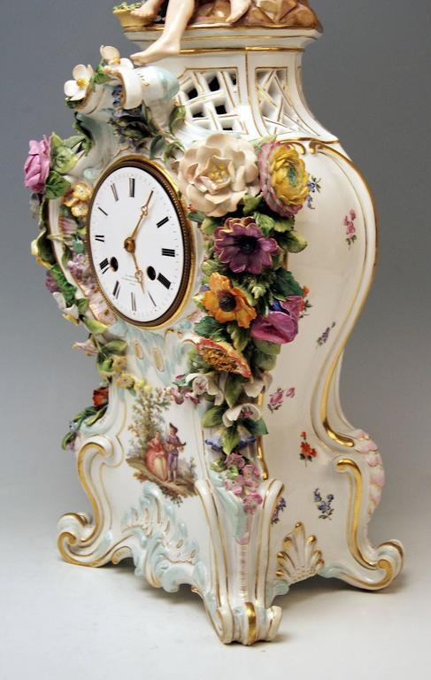 Porcelain Meissen Mantle Table Clock Paintings Sculptured Figurines Flowers, circa 1860 For Sale