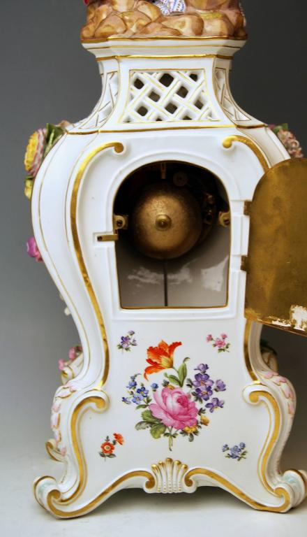 Meissen Mantle Table Clock Paintings Sculptured Figurines Flowers, circa 1860 9