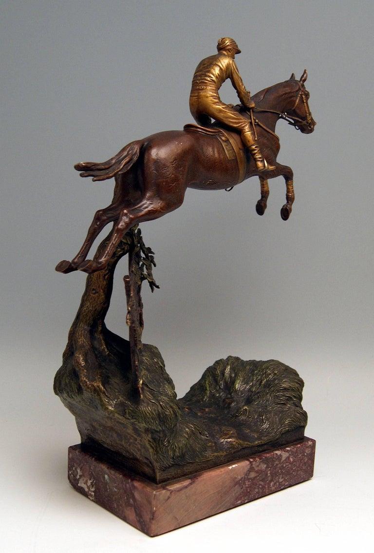 Austrian Vienna Bergman, N Bronze Jockey Riding on Jumping Horse Made, circa 1920 For Sale