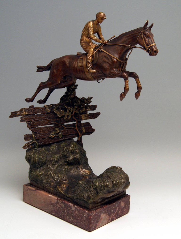 Cold-Painted Vienna Bergman, N Bronze Jockey Riding on Jumping Horse Made, circa 1920 For Sale