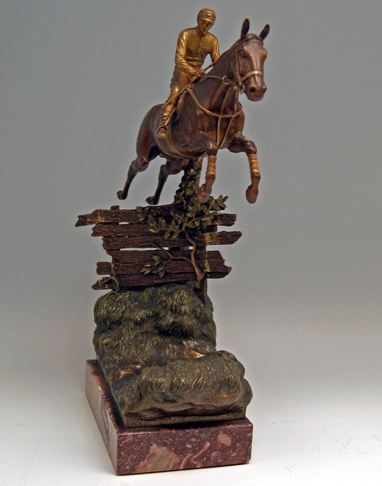 Vienna Bergman, N Bronze Jockey Riding on Jumping Horse Made, circa 1920 In Excellent Condition For Sale In Vienna, AT