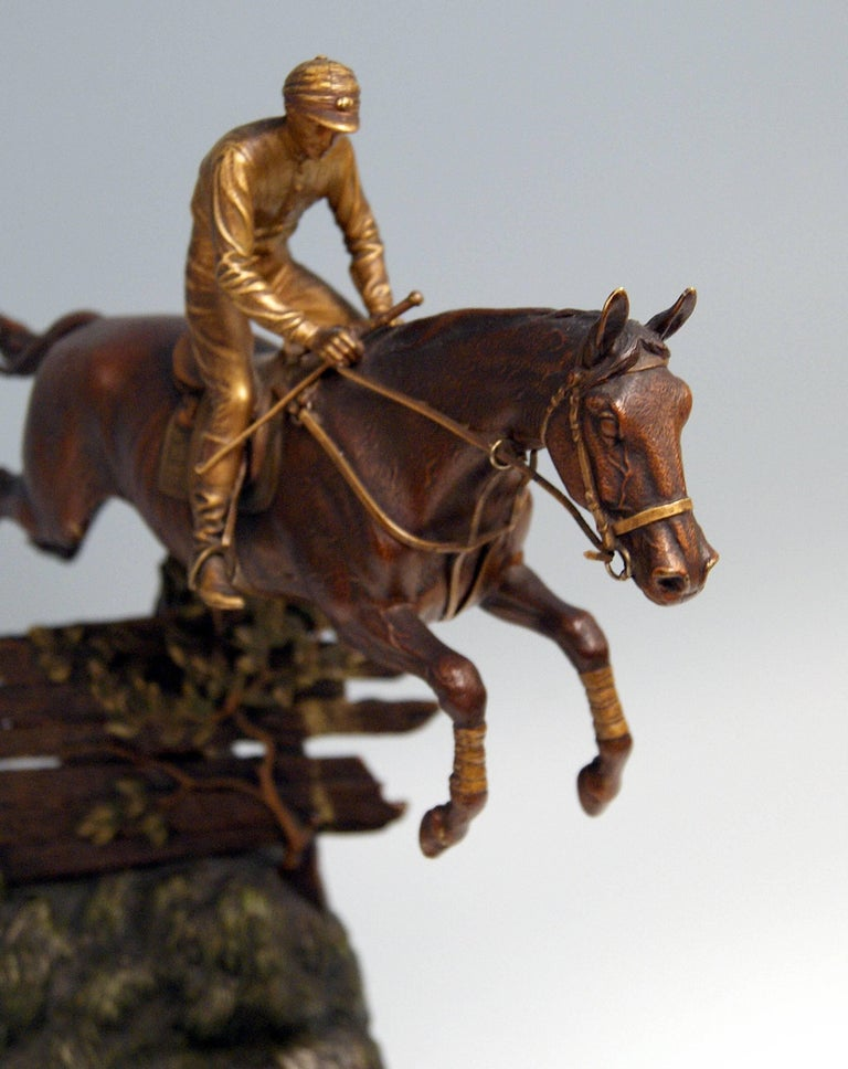 Late 19th Century Vienna Bergman, N Bronze Jockey Riding on Jumping Horse Made, circa 1920 For Sale