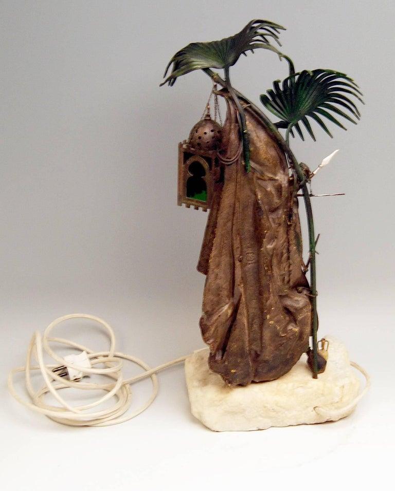 Austrian Vienna Bergmann Bronze Lamp Arab Man with Carpet made circa 1910 For Sale