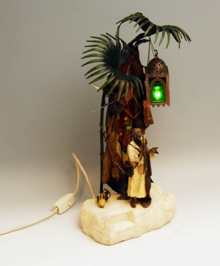 Cold-Painted Vienna Bergmann Bronze Lamp Arab Man with Carpet made circa 1910 For Sale