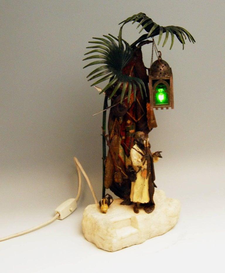 Vienna Bergman, n, Bronze Lamp Arab Man with Carpet Made, circa 1910-1920 5