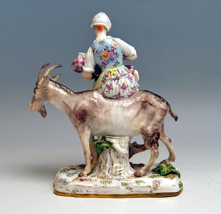 Meissen Wife of Tailor Riding on Goat Model 155 Eberlein Kaendler, circa 1860 4