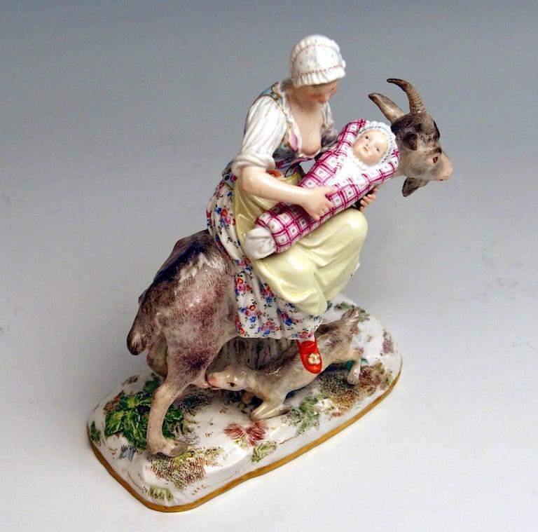 Meissen Wife of Tailor Riding on Goat Model 155 Eberlein Kaendler, circa 1860 5