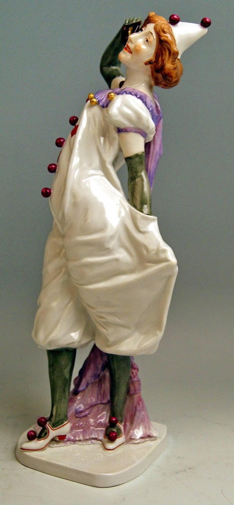 Meissen most remarkable figurine: Pierrette (=Female Pierrot)  Measures / dimensions: height: 13.58 inches / 34.5 cm  width: 4.33 inches / 11.0 cm depth: 4.13 inches / 10.5 cm  Manufactory: Meissen Hallmarked: Blue Meissen sword mark (glazed