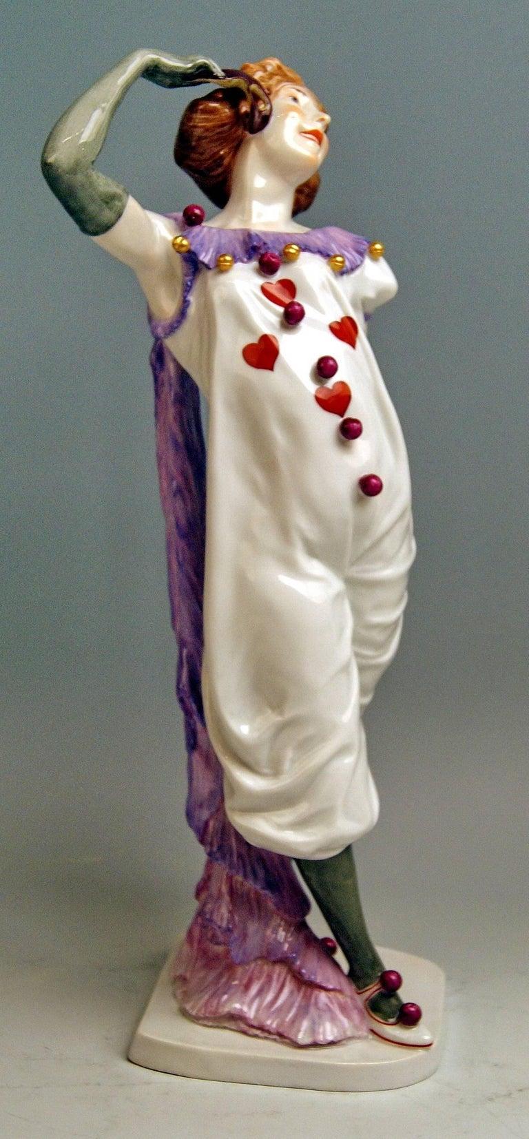 Art Nouveau Meissen Pierrette Model Y 165 Wiegand Martin Tall Figurine Made, 1909-1915 For Sale