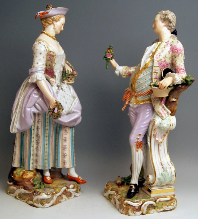 Meissen Two Gardeners Male Female Models 2868 B 65 Kaendler 20 inches made 1870 2