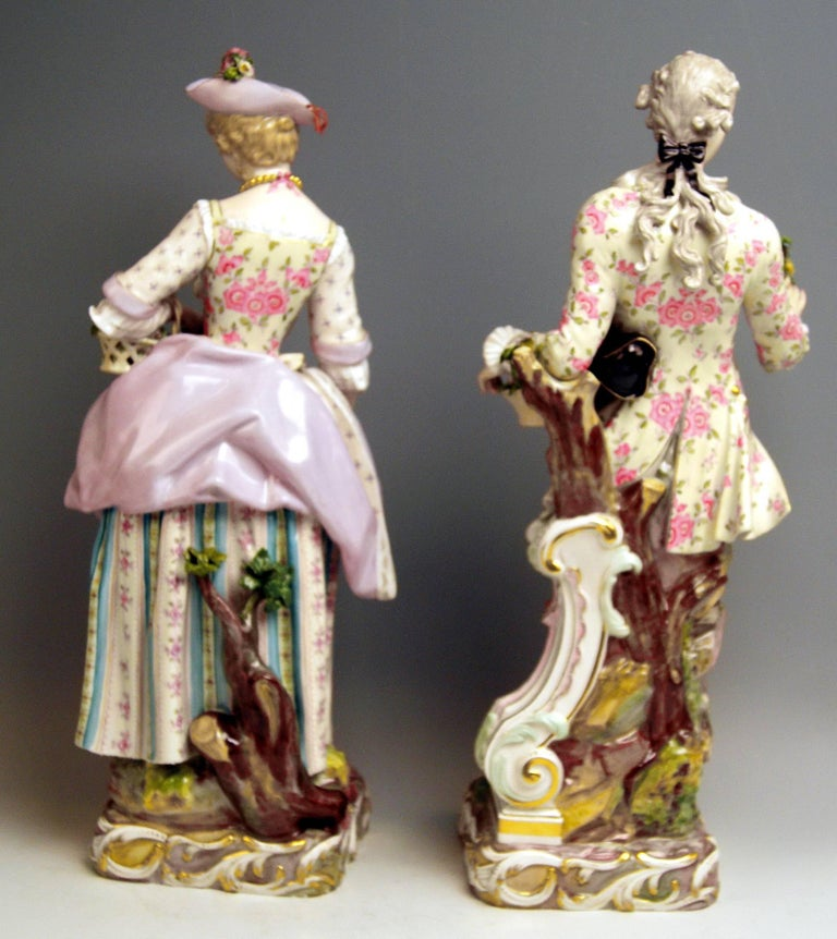 Meissen Two Gardeners Male Female Models 2868 B 65 Kaendler 20 inches made 1870 3