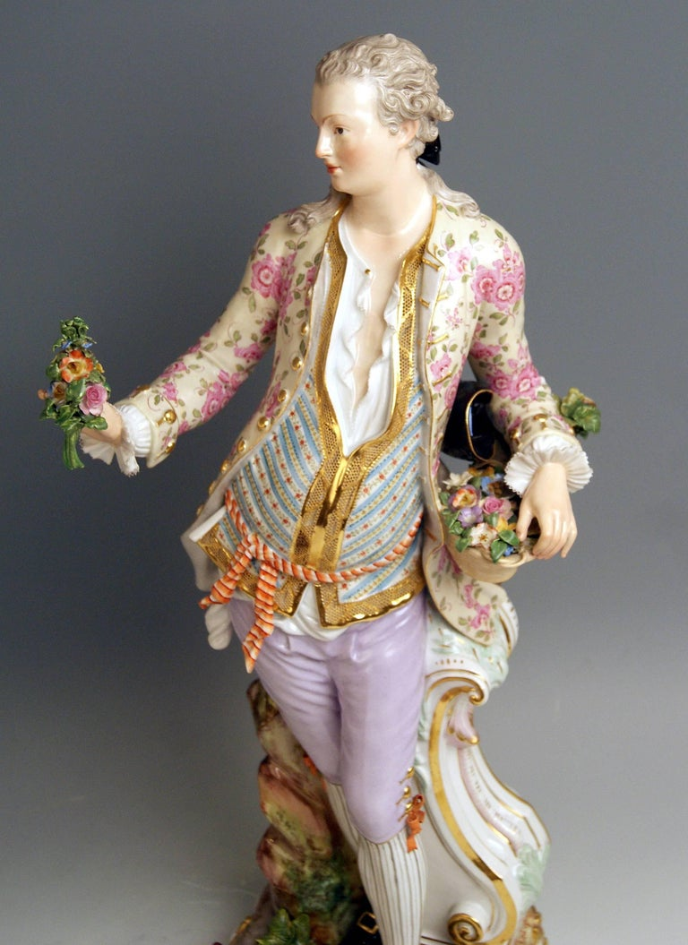 Meissen Two Gardeners Male Female Models 2868 B 65 Kaendler 20 inches made 1870 8