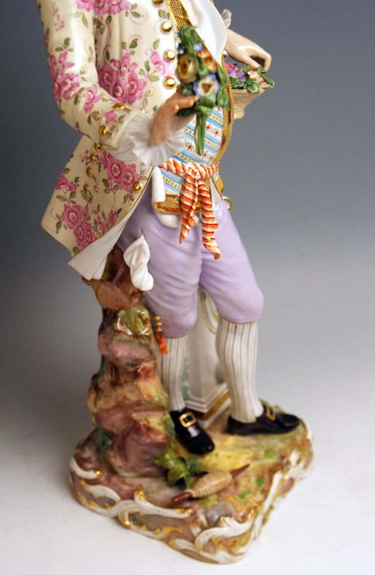Meissen Two Gardeners Male Female Models 2868 B 65 Kaendler 20 inches made 1870 9