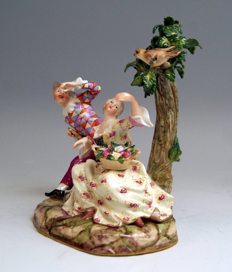 Meissen stunning figurine group: Harlequin and girl