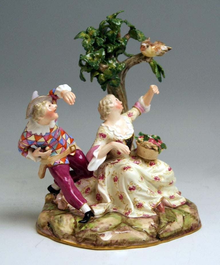 Rococo Meissen Harlequin and Girl Figurines Model 782 Kaendler Made circa 1840 For Sale