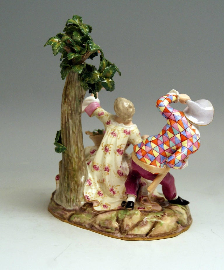 German Meissen Harlequin and Girl Figurines Model 782 Kaendler Made circa 1840 For Sale