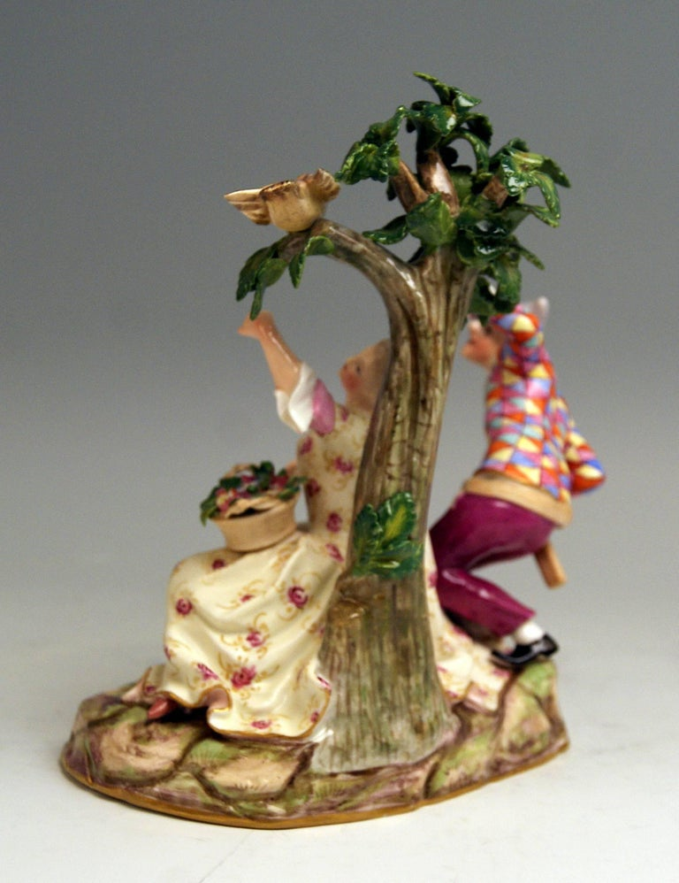 Glazed Meissen Harlequin and Girl Figurines Model 782 Kaendler Made circa 1840 For Sale