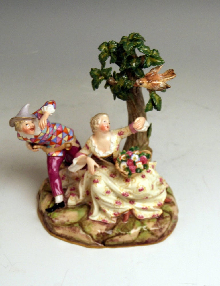 Meissen Harlequin and Girl Figurines Model 782 Kaendler Made circa 1840 In Excellent Condition For Sale In Vienna, AT