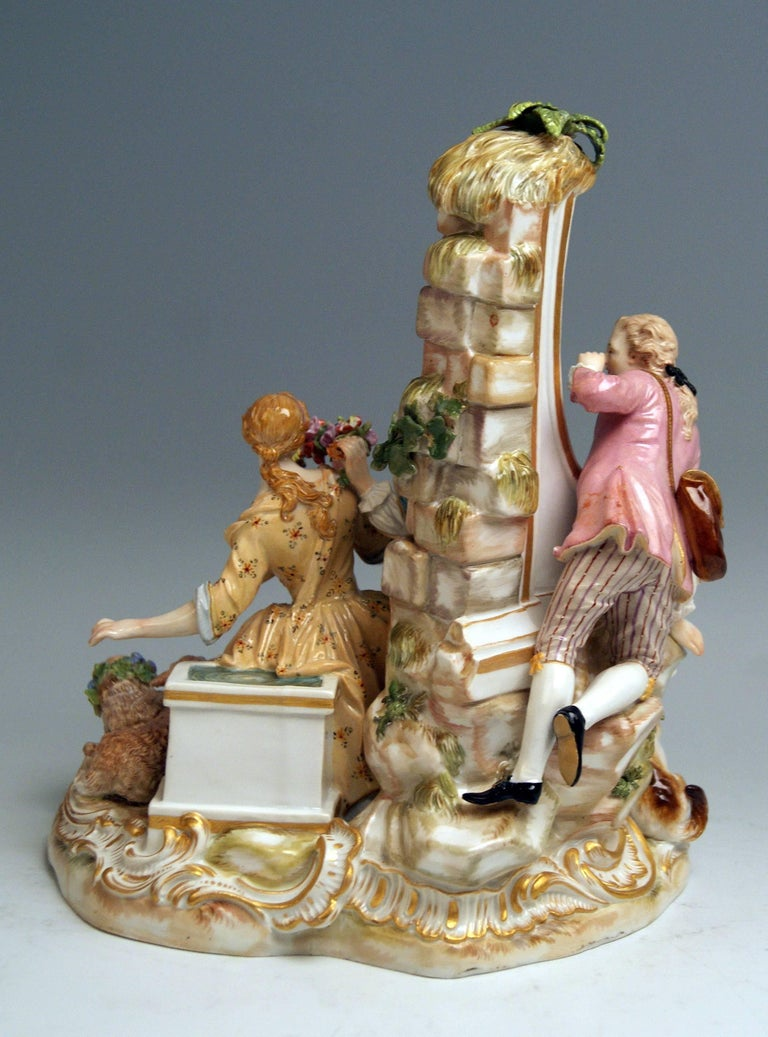 Rococo Meissen Shepherds Figurines Model 2870 Johann Joachim Kaendler, circa 1850 For Sale