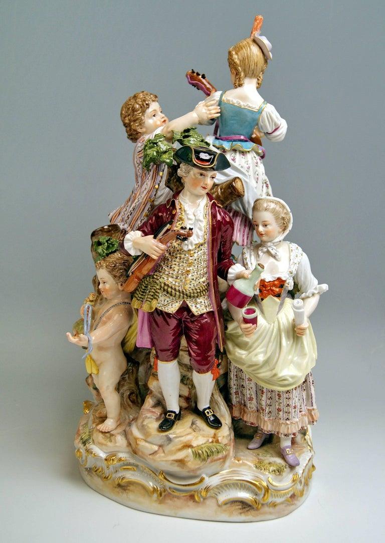 German Meissen Shepherds Figurines Model 2870 Johann Joachim Kaendler, circa 1850 For Sale