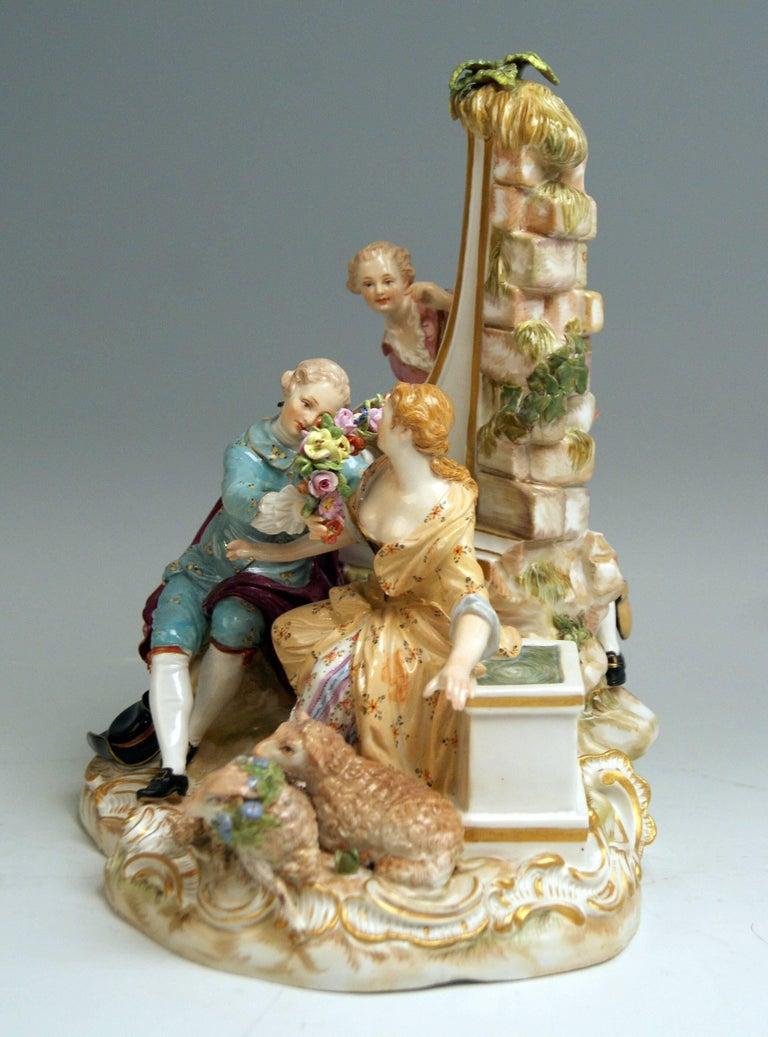 Glazed Meissen Shepherds Figurines Model 2870 Johann Joachim Kaendler, circa 1850 For Sale