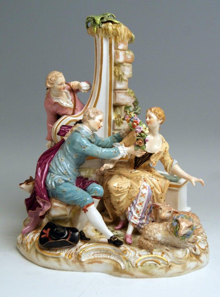 Meissen Shepherds Figurines Model 2870 Johann Joachim Kaendler, circa 1850 In Excellent Condition For Sale In Vienna, AT