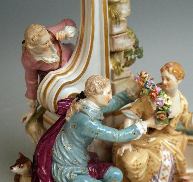 Porcelain Meissen Shepherds Figurines Model 2870 Johann Joachim Kaendler, circa 1850 For Sale