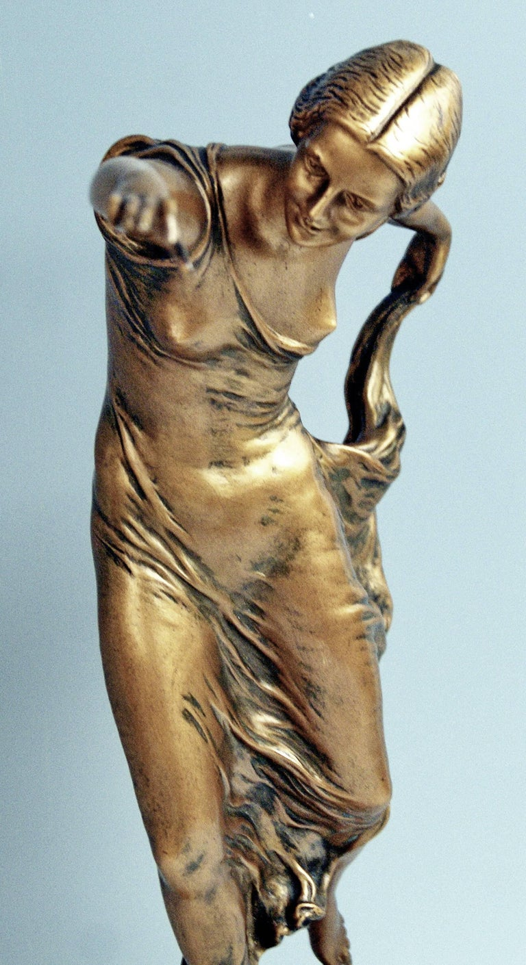 Patinated Bronze Lady Dancer by Poertzel Otto, Germany Made circa 1920-1925