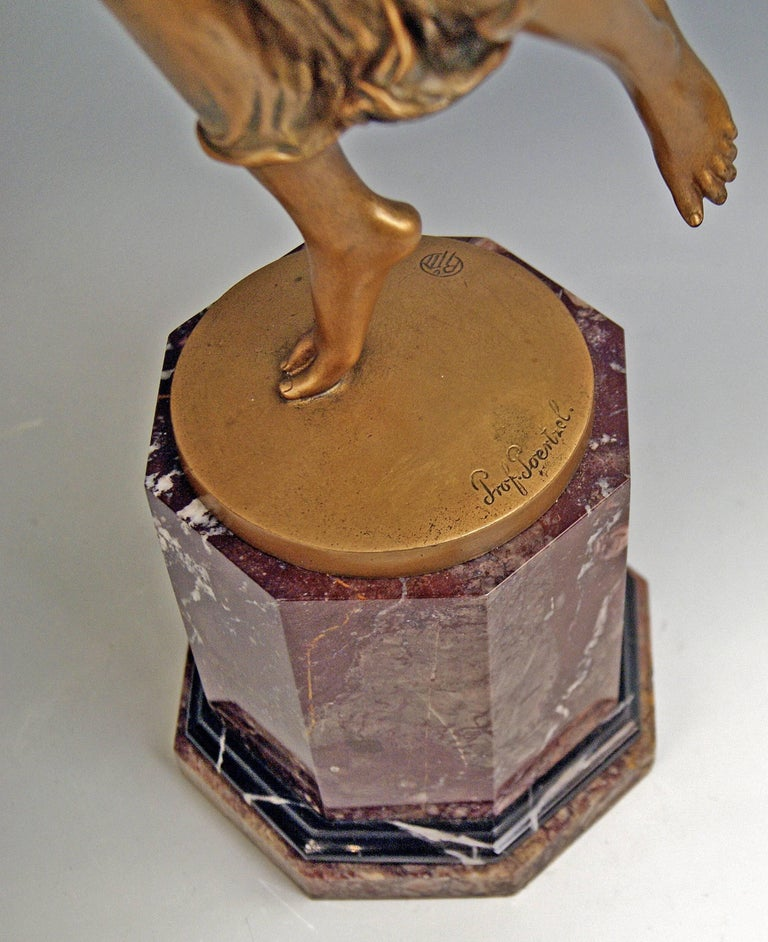 Bronze Lady Dancer by Poertzel Otto, Germany Made circa 1920-1925 In Excellent Condition For Sale In Vienna, AT