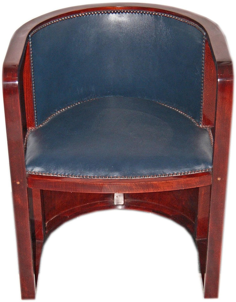 Josef Hoffmann Armchair Kohn 421 Vienna Mahogany Stained Green Leather Made 1910 2