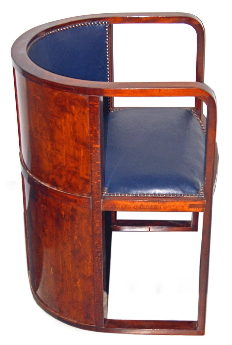 Josef Hoffmann Armchair Kohn 421 Vienna Mahogany Stained Green Leather Made 1910 4