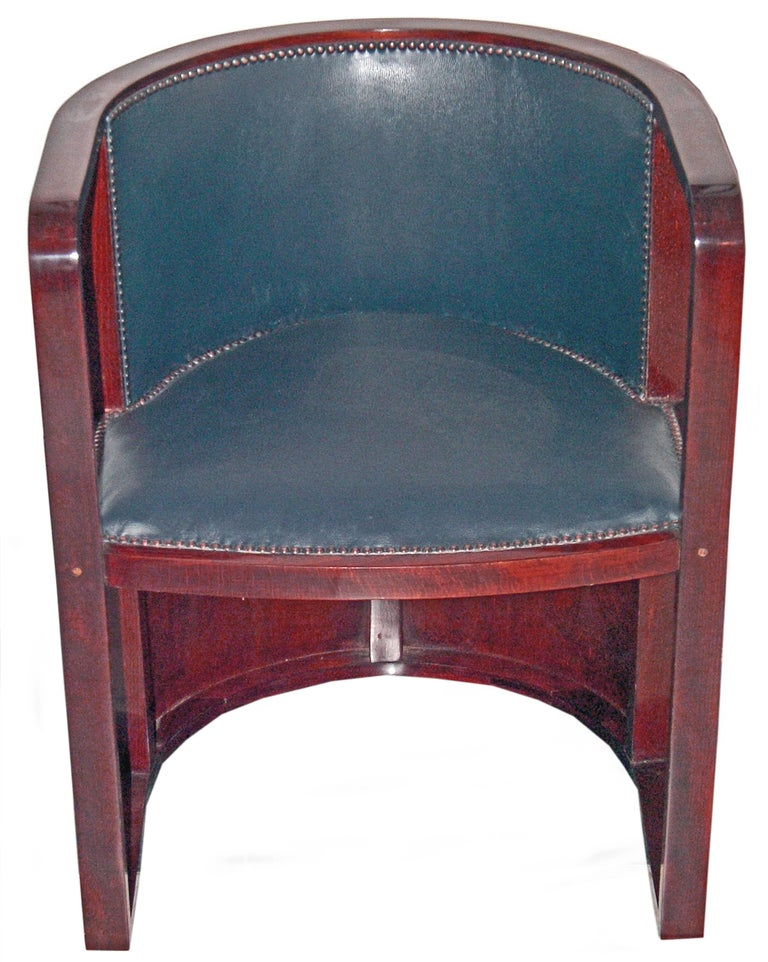 Josef Hoffmann Armchair Kohn 421 Vienna Mahogany Stained Green Leather Made 1910 5