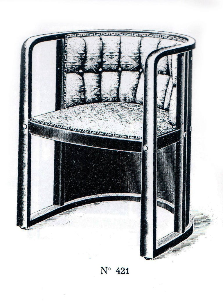 Art Nouveau Josef Hoffmann Armchair Kohn 421 Vienna Black Stained Cream Leather made 1910 For Sale