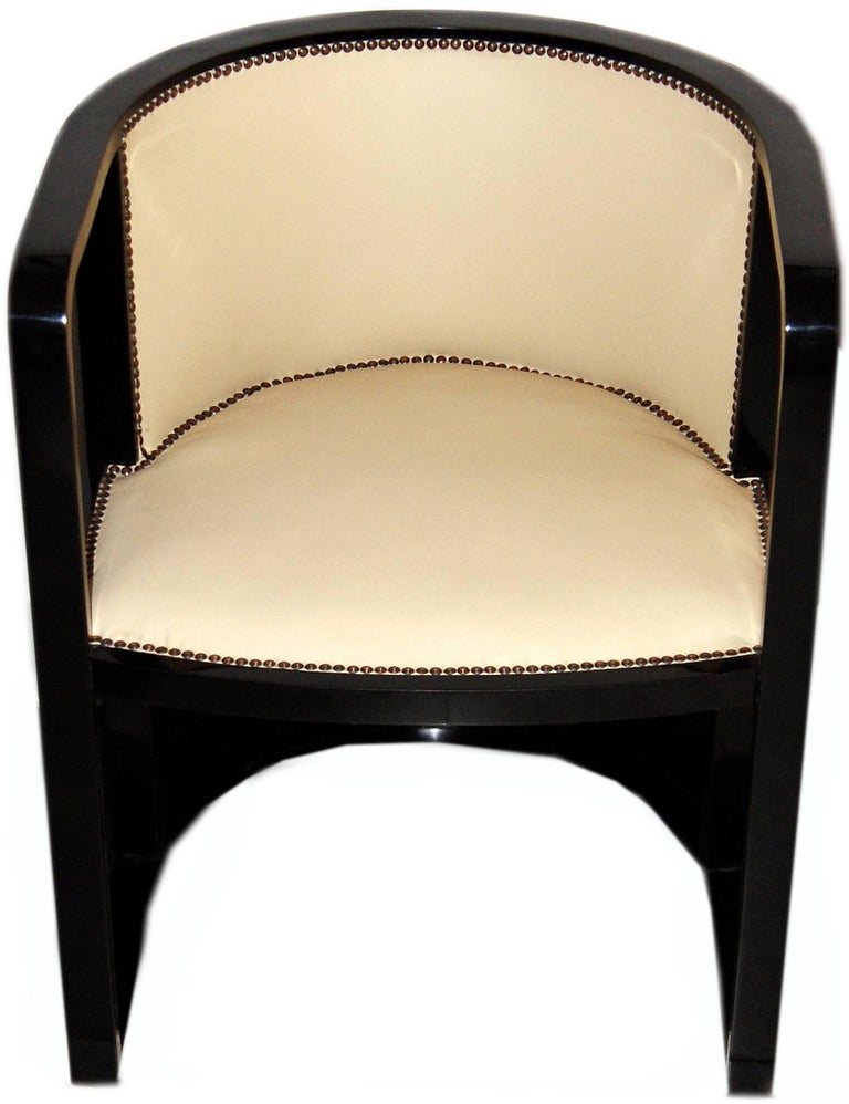 Josef Hoffmann Armchair Kohn 421 Vienna Black Stained Cream Leather made 1910 For Sale 1