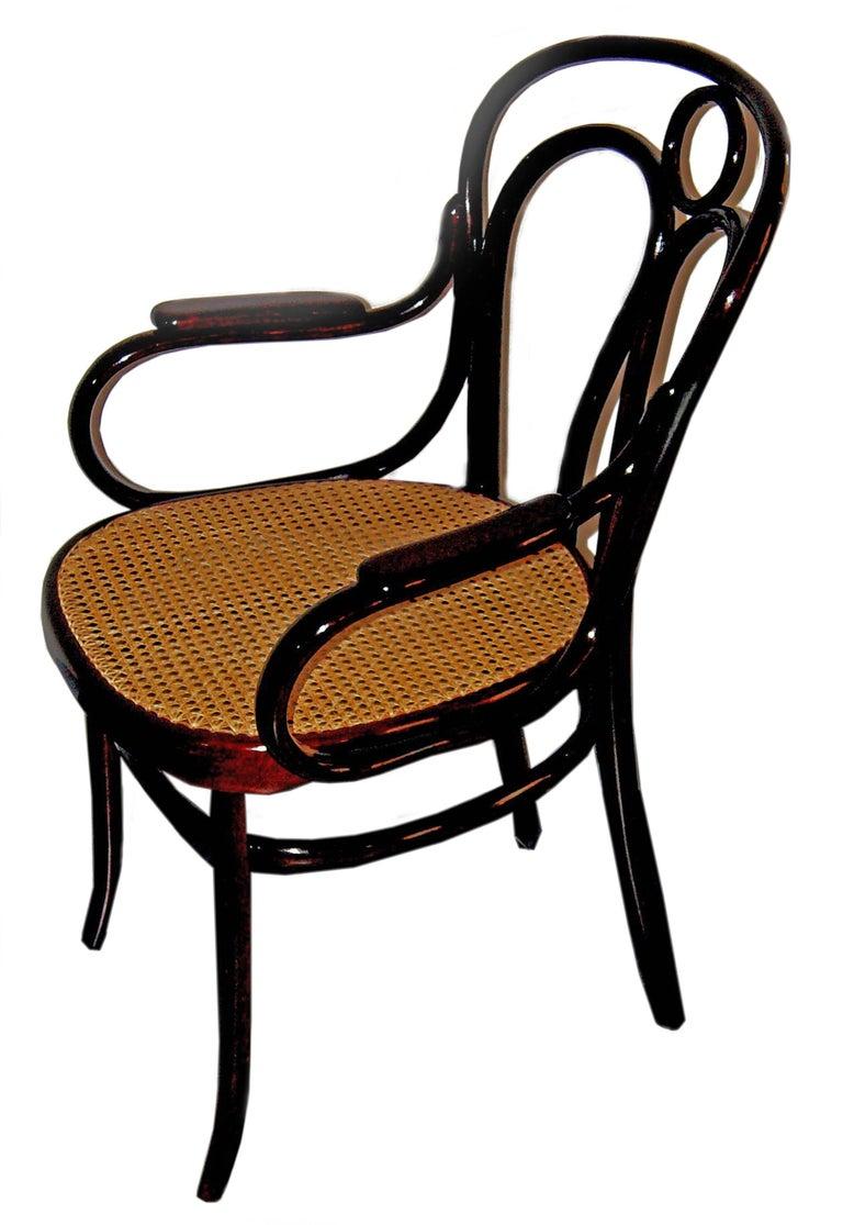 Austrian Art Nouveau Bentwood Armchair 36 J. & J. Kohn Vienna Mahogany Stained Made 1905 For Sale