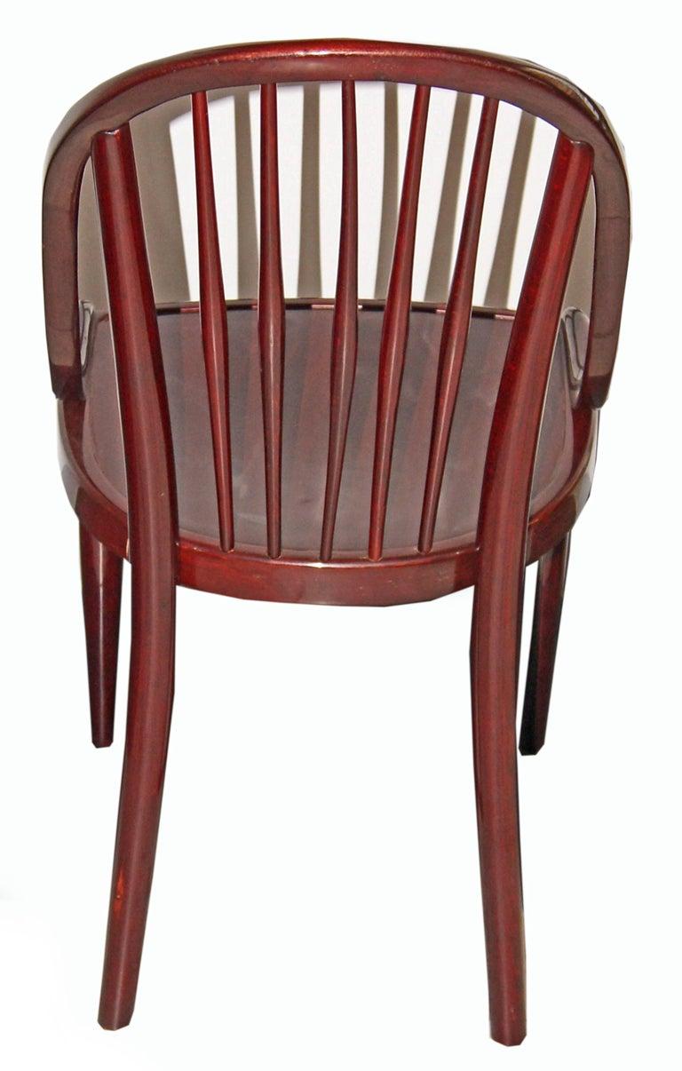 Czech Thonet Bentwood Set Seven Chairs Design by Hoffmann or Prutscher made circa 1925 For Sale
