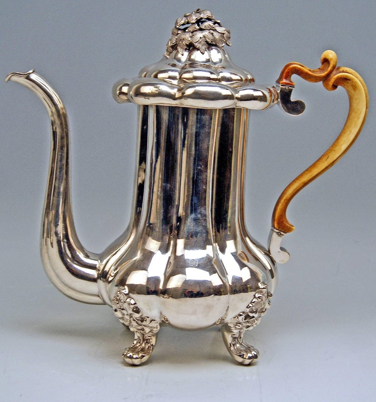 Silver 13 Lot Austrian Coffee Pot Vintage Vienna Karl Paltscho, 1853 For Sale 4