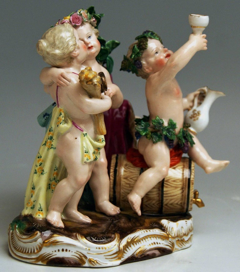 Painted Meissen the Four Seasons Model 1068 Johann Joachim Kaendler Made circa 1850-1860 For Sale
