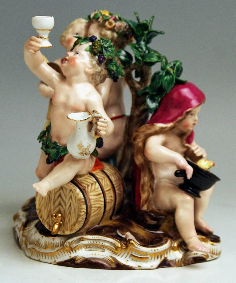 Rococo Meissen the Four Seasons Model 1068 Johann Joachim Kaendler Made circa 1850-1860 For Sale