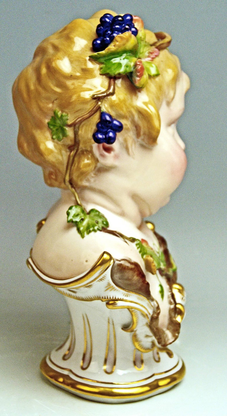 Painted Meissen Child Bust Season Figurine Autumn Fall Model K 177, Schwabe, circa 1880 For Sale