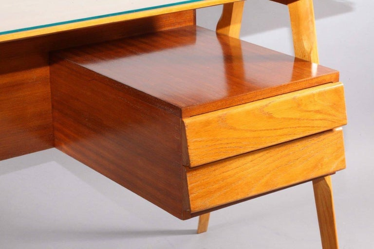 Writing desk, Vittorio Dassi, Italy, 1950. Oak, mahogany, two drawers.
