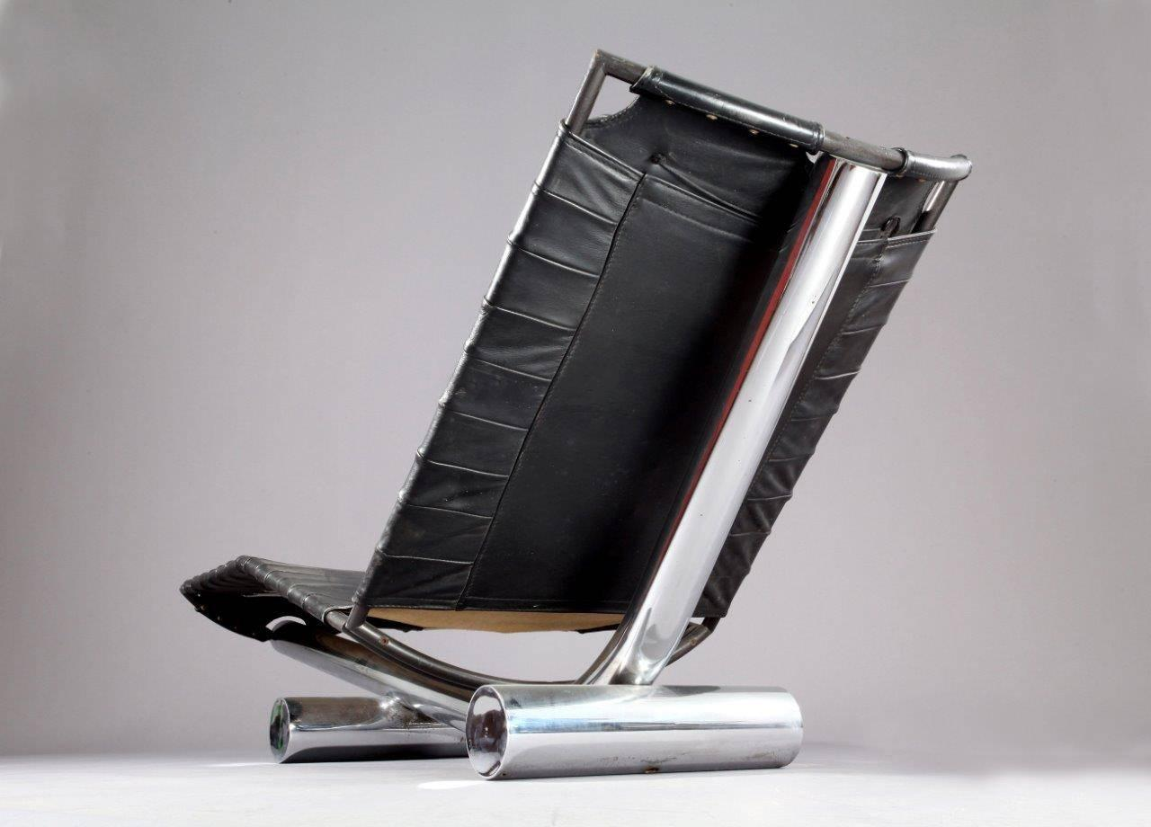 Leather and chrome chariot chaise longue paul tuttle for Chaise longue 200 cm