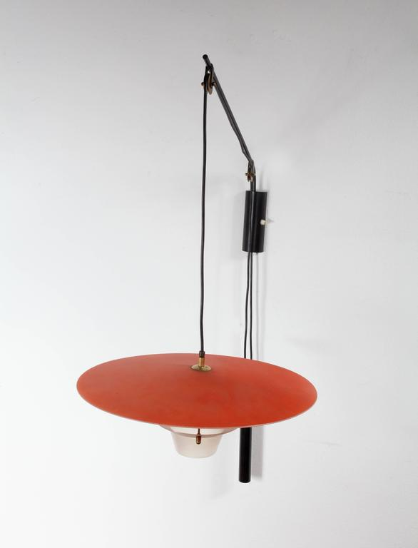 Charming Adjustable Italian Swing Arm Wall Lamp, Italian, 1960 For Sale at 1stdibs