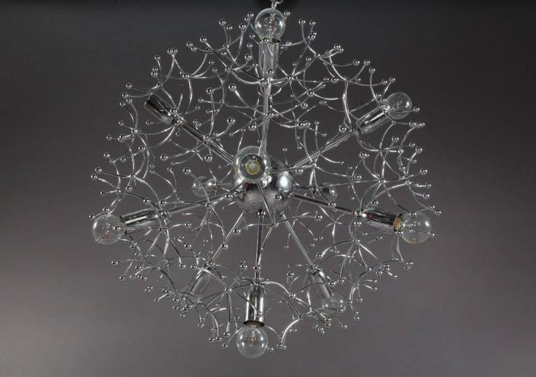 Mid-Century Modern Charming Chrome Sputnik Chandelier Designed Sciolari, Italy, 1960 For Sale
