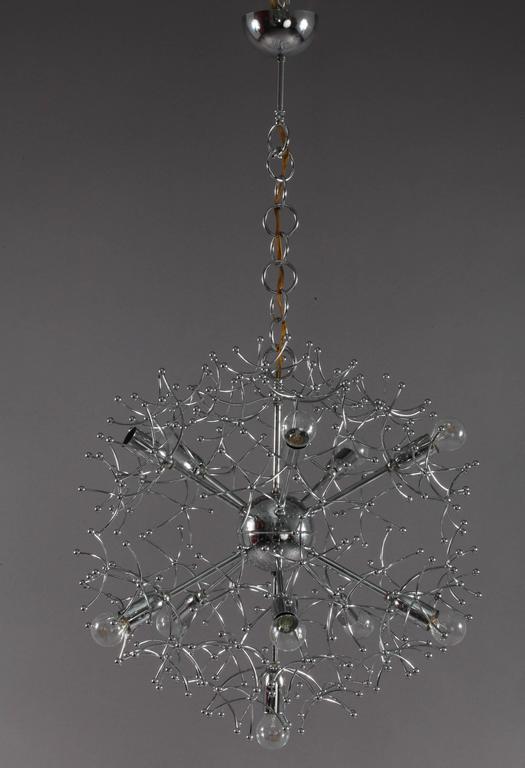 Italian Charming Chrome Sputnik Chandelier Designed Sciolari, Italy, 1960 For Sale