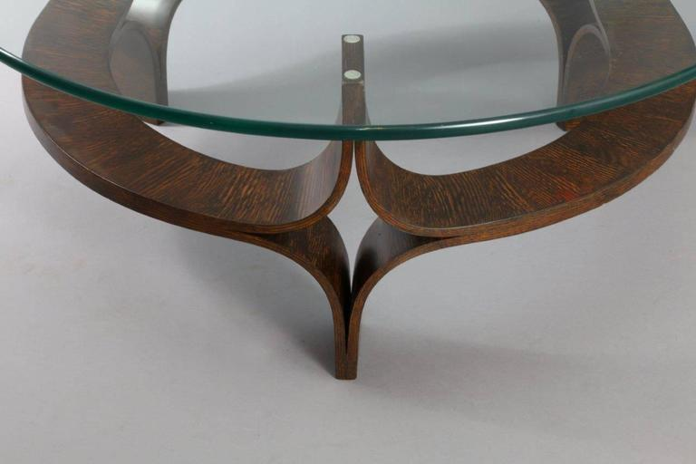 Great Round Rosewood Mid Century Modern Sculptural Bentwood Glass Top Coffee Table  2