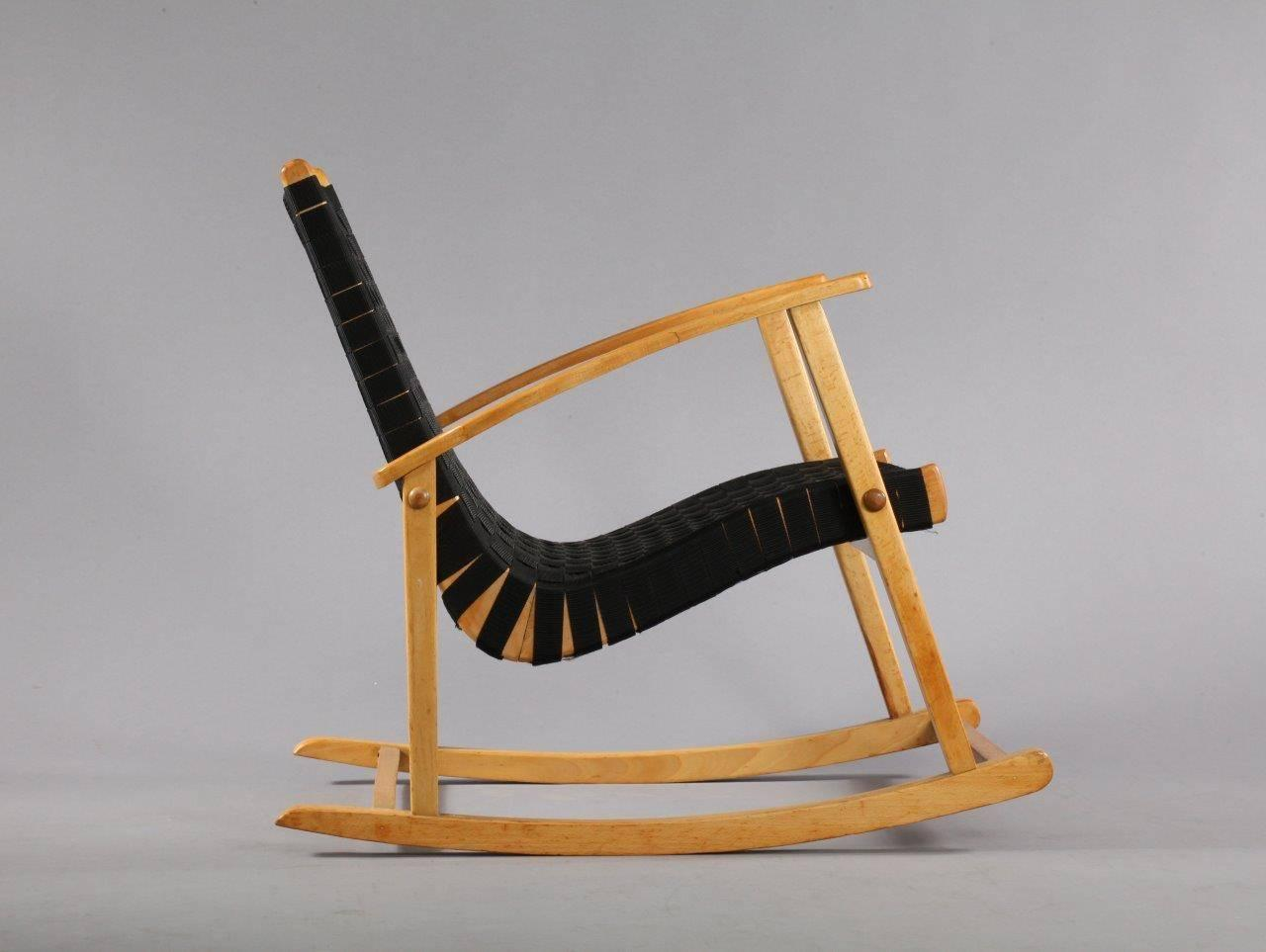 fortable Rocking Chair Attributed to Jens Risom 1950