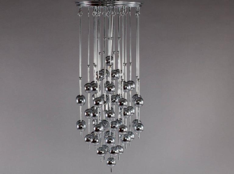 Space Age Charming Verner Panton Metallic Ball Chandelier For Sale