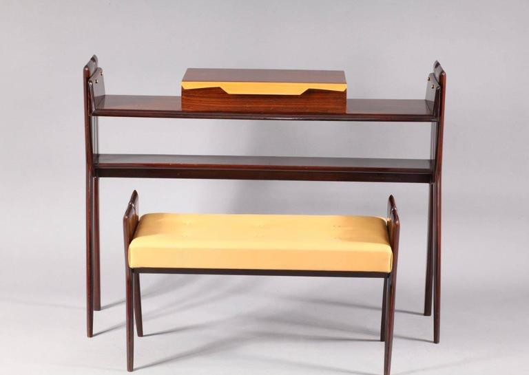 Mid-Century Modern Italian Console Table with Integrated Bench Attributed Ico Parisi For Sale