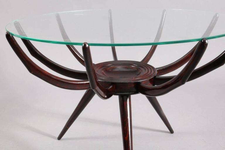 "Coffee table ""spider"", Attributed to Carlo de Carli, Italy, circa 1952. dark walnut."